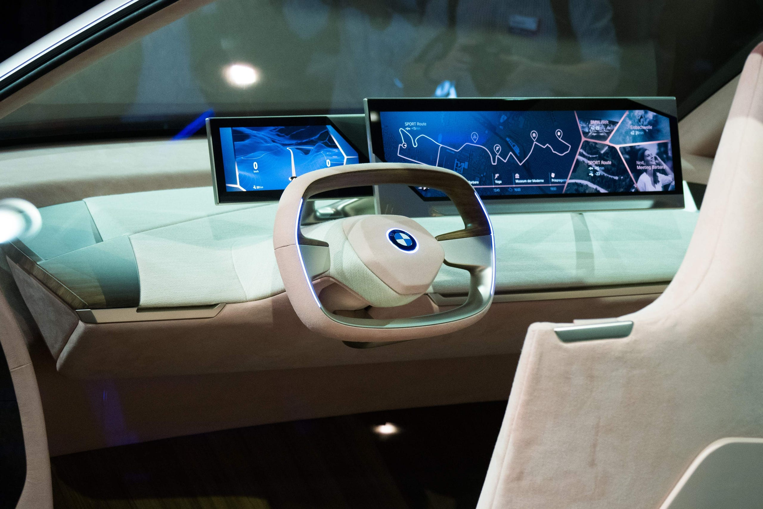 The steering wheel and display inside the BMW Vision iNEXT are unveiled at a special event ahead of the LA Auto Show, November 27, 2018 in Los Angeles.  The BMW Vision iNEXT is fully electric, fully connected and offers highly autonomous driving. The series-production model, set to become the company's new technology flagship, will be built at BMW Group Plant Dingolfing from 2021.