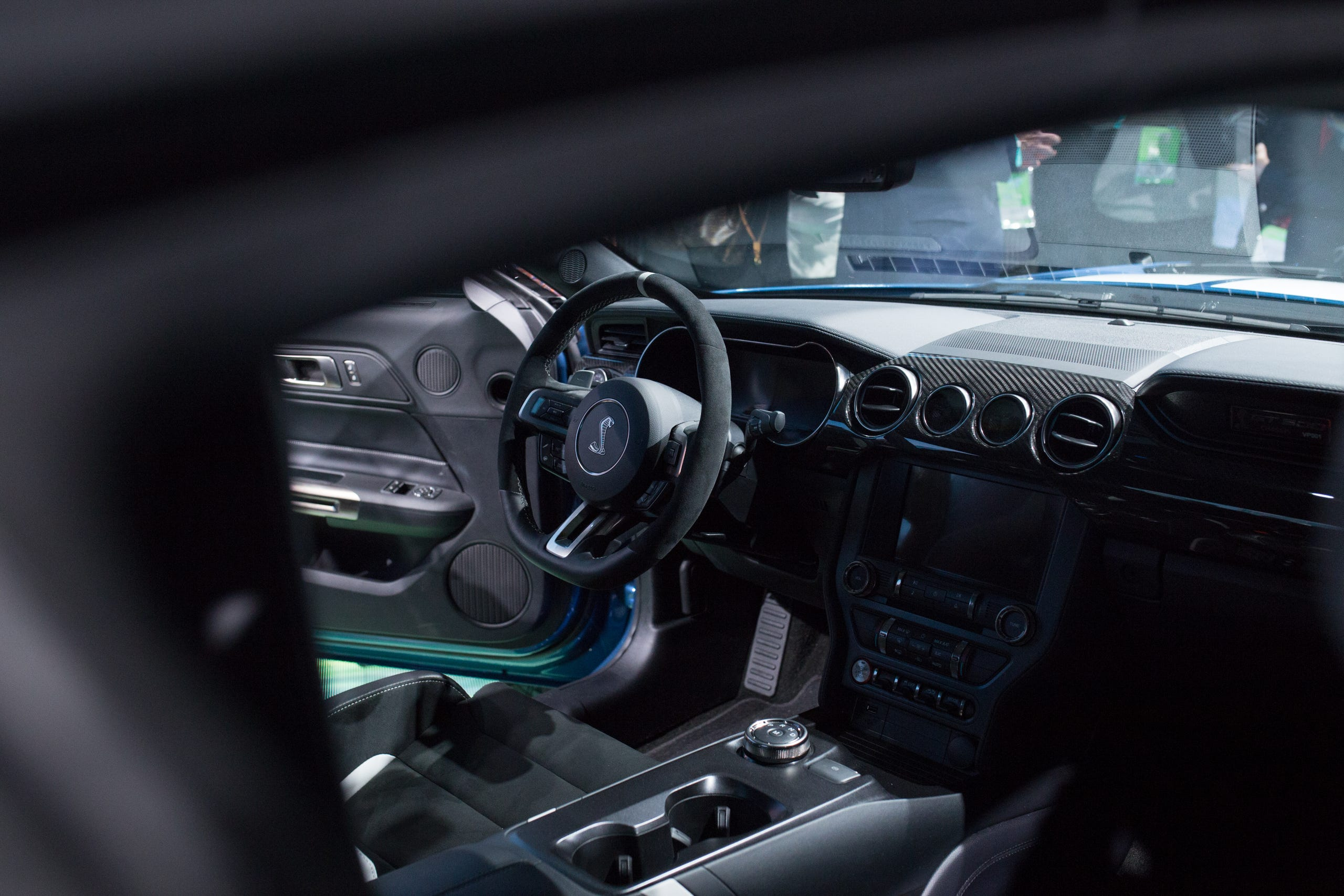 The dashboard and steering wheel of the all-new 2020 Mustang Shelby GT 500 is shown during the 2019 North American International Auto Show held at Cobo Center in downtown Detroit on Monday, Jan. 14, 2019.
