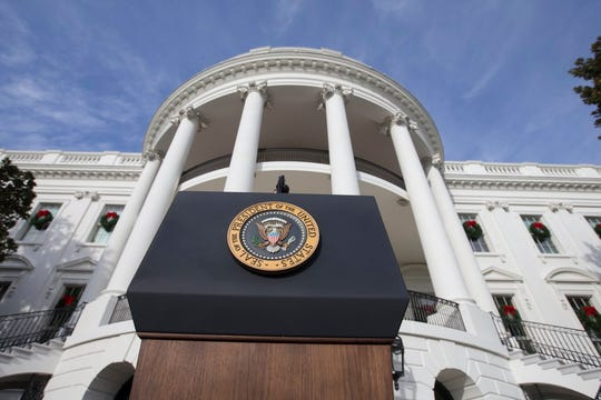 The podium with the presidential seal on the South Lawn of the White House in Washington in December 2017.