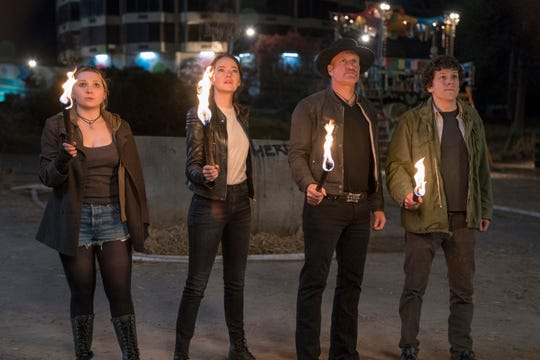 """Abigail Breslin (from left), Emma Stone, Woody Harrelson and Jesse Eisenberg are back to the undead killing in """"Zombieland: Double Tap."""""""