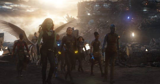 "Gamora (Zoe Saldana, front left) teamed up with other female heroes in ""Avengers: Endgame"" but has an intriguing moment in a new deleted scene."