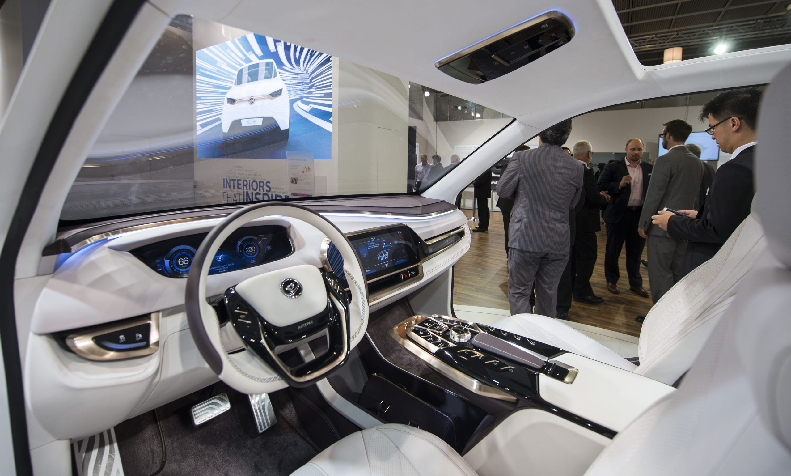 Yanfeng Automotive Interiors displays an autonomous concept car with a retracting steering wheel and seats rotating towards each other for an easier conversation during a press day of the 66th IAA auto show in Frankfurt am Main, western Germany, on Sept. 16, 2015.