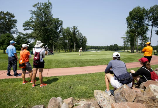 College coaches were among the spectators watching Emilia Smith hit her tee shot during the USGA Girls Junior Championship at SentryWorld in Stevens Point. More than 85 college coaches were in attendance for the tournament this week.