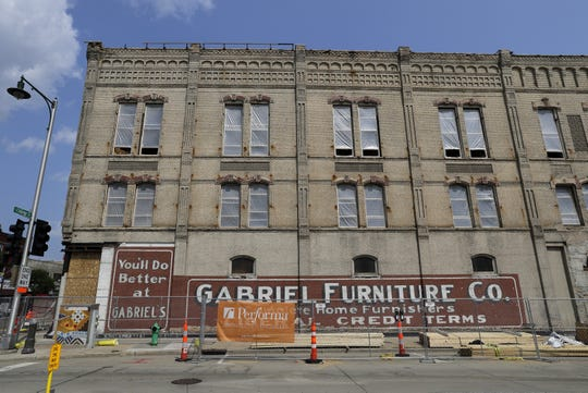 Gabriel Lofts' construction uncovered original brickwork and signs on the former Gabriel Furniture building.
