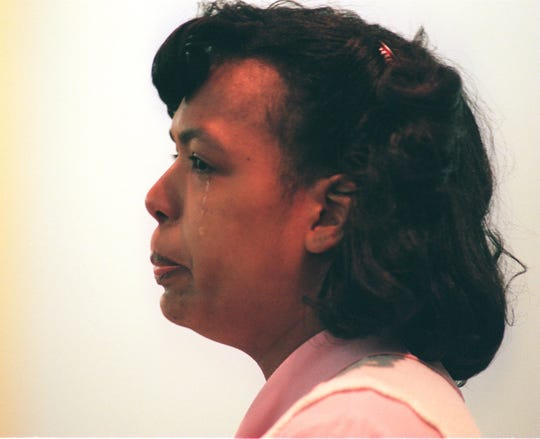 Maria Dolores Montalvo gives a tearful plea to the jury during the death penalty phase of her trial.