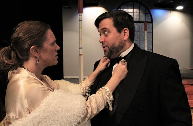 """Michael (Kerry Goff) has his bow tie adjusted by his wife Agnes (Ashleigh Goff) before a night out in this rehearsal scene from """"I Do! I Do!"""", McMurry University's summer theater production. July 25 2019"""