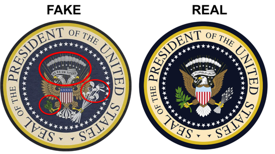 Comparing the real presidential seal to one altered by a graphic designer and used at an event at which President Trump was speaking.