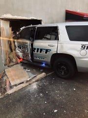 An SUV driven by a Howard County Sheriff's deputy was damaged and the officer injured when a suspect driving a stolen truck intentionally drove into the SUV during a chase Thursday in Big Spring involving two stolen trucks from Sweetwater.