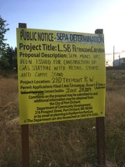 The city of Port Orchard has approved a permit application for grading and site development for a gas station on Tremont Street. Neighbors of the project objected and the city has ordered provisions to mitigate impacts of traffic, light and possible environmental hazards. A notice sign posted on the property is shown on July 23, 2019.