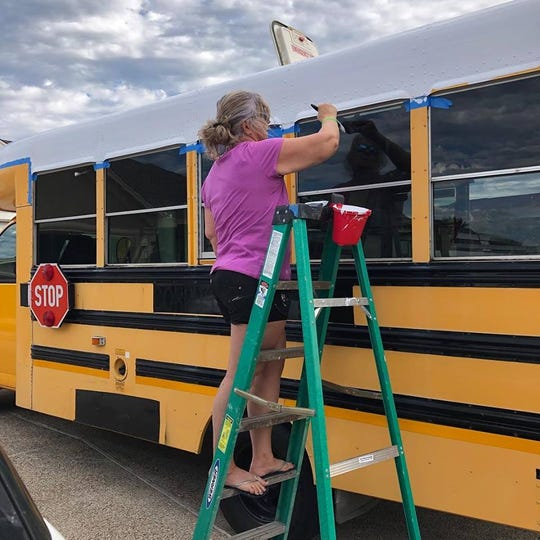Jorgi Kurtz, of North Padre Island, bought a regular school bus and transformed it into a mobile juice bar — Island Squeeze.
