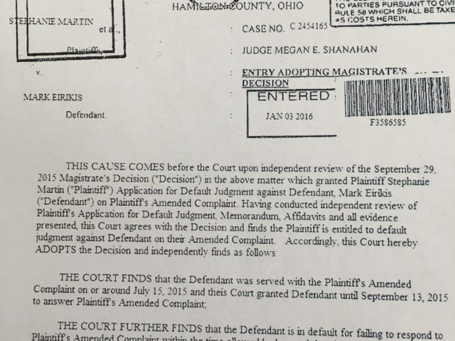 Example of a fake order. In this document, the case number, C 2454165, is nonsensical. It would be an appeals court case, not common pleas court, filed in 2024.