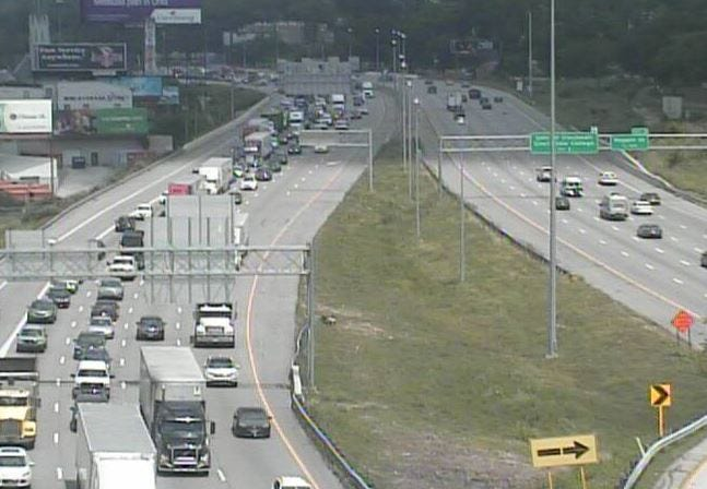 A fuel spill on southbound I-75 has closed all lanes.
