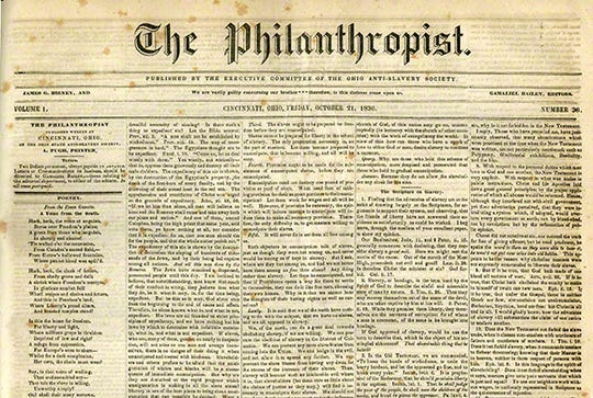 Abolitionist newspaper, The Philanthropist.