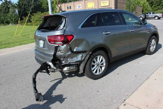 In a wreck on Friday, July 26, 2019, on Trenton Road, a motorcycle hit a minivan, and the rider slid under a Toyota.