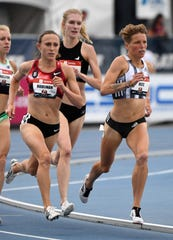 Shelby Houlihan (left) and Nikki Hiltz run in a women's 1,500 meter heat Thursday during the USATF Championships at Drake Stadium.