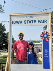 Zach Wahls escorted fiance Chloe Angyal on her first visit to the Iowa State Fair in August, 2018.