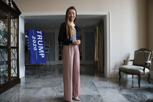 Kathy Zhu, the former Miss World America Michigan, speaks during a Women for Trump luncheon organized by the Michigan Conservative Coalition at the Heathers Club in Bloomfield Hills, Mich. on Friday, July 26, 2019.