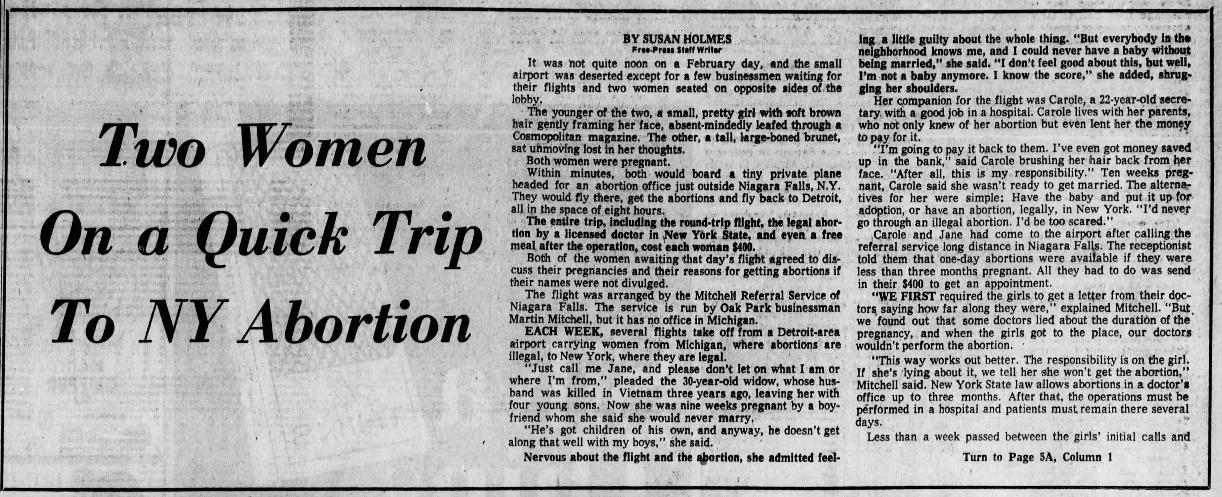 A Detroit Free Press article from 1971 following two women's trips to Niagara Falls, New York to have abortions with Mitchell Referral Service.