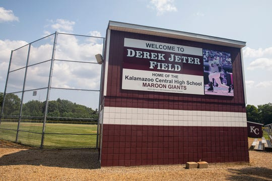 This July 25, 2019, photo shows Derek Jeter Field at Kalamazoo Central High School in Kalamazoo.