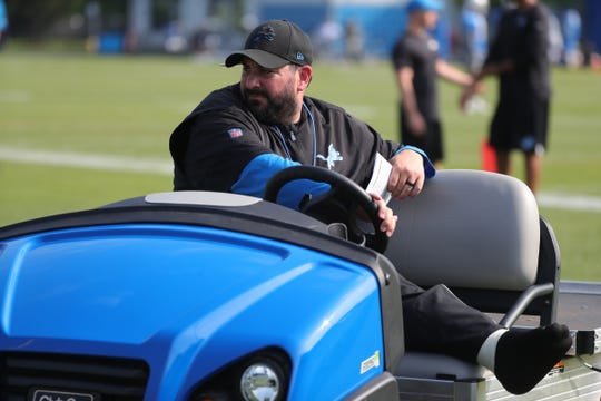 Lions coach Matt Patricia watches the action during practice during training camp on Friday, July 26, 2019, in Allen Park.