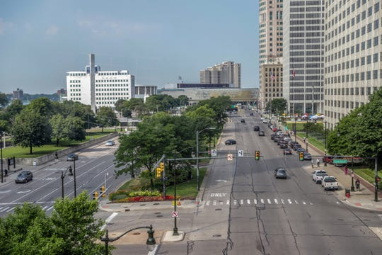 Jefferson avenue near Hart Plaza heading west towards Cobo Center and past the Spirit of Detroit plaza, photographed on Friday, July 26, 2019.