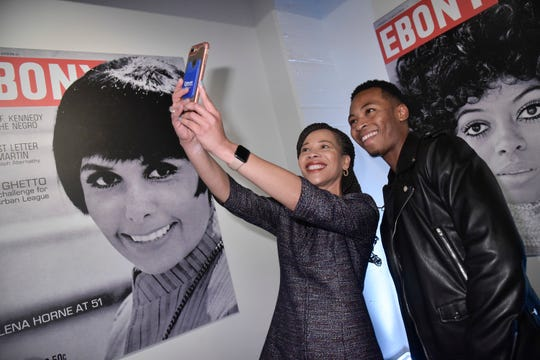 Rep. Lisa Blunt Rochester and Kevin Ross attend the Universal Music Group and Ebony celebration in honor of Sen. Kamala D. Harris during 2017 CBCF ALC at Ajax Gallery, in Washington.