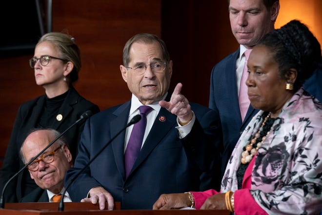 House Judiciary Committee Chairman Jerrold Nadler, D-N.Y., and Democratic members of that panel, speak to reporters about testimony from former special counsel Robert Mueller. From left with Nadler are Rep. Steve Cohen, D-Tenn., Rep. Madeleine Dean, D-Pa., Rep. Sheila Jackson Lee, D-Texas, and Rep. Eric Swalwell, D-Calif.