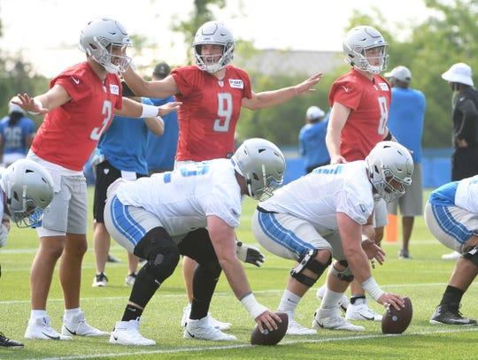 Lions quarterbacks Tom Savage, Matthew Stafford and David Fales.