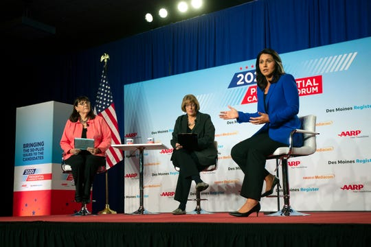 Rep. Tulsi Gabbard, D-Hawaii, speaks at the AARP Presidential Candidates Forum at the Hotel at Kirkwood Center in Cedar Rapids, Iowa, on Wednesday, July 17, 2019.
