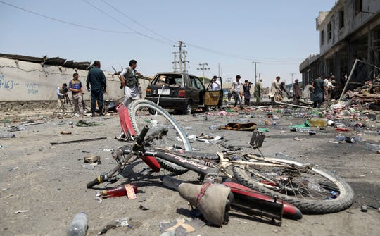 The site of a suicide attack in Kabul, Afghanistan, Thursday, July 25, 2019.
