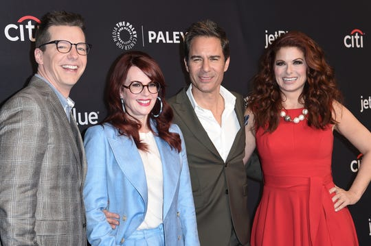 """Sean Hayes, from left, Megan Mullally, Eric McCormack and Debra Messing. NBC announced Thursday, July 15, 2019, that the upcoming season of """"Will & Grace"""" will be the last for the comedy series."""