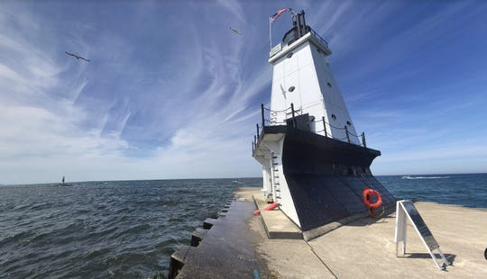 The Ludington breakwater lighthouse.