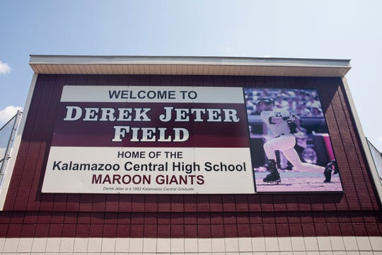 This July 25, 2019 photo shows a sign at  Derek Jeter Field at Kalamazoo Central High School in Kalamazoo, Mich.