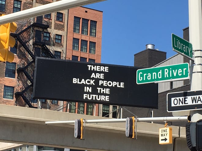 """Pittsburgh artist Alisha B. Wormsley created this assertive billboard for the show """"Manifest Destiny"""" at Detroit's Library Street Collective."""