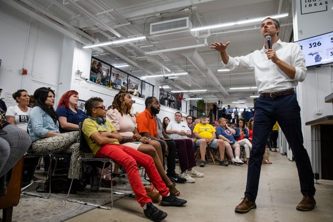 In this Wednesday, July 24, 2019, photo, Democratic presidential candidate and former U.S. Rep. Beto O'Rourke speaks at a town hall at the Ferris Wheel in downtown Flint, Mich. O'Rourke spoke on education, immigration and equal rights.