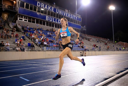 Molly Huddle runs to victory in the final of the 10,00 meter during the 2019 USATF Outdoor Championships at Drake Stadium on July 25, 2019 in Des Moines, Iowa.
