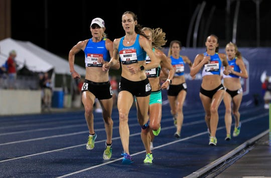 Molly Huddle runs to victory in the final of the 10,000 meter during the 2019 USATF Outdoor Championships at Drake Stadium on July 25, 2019 in Des Moines, Iowa.