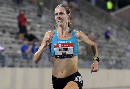 Molly Huddle wins the women's 10,000m in 31:58.47 during the USATF Championships at Drake Stadium on July 25, 2019.
