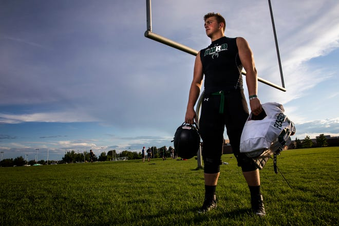 Fossil Ridge High School junior offensive lineman Trey Zuhn poses for a portrait after practice on Thursday, July 25, 2019, in Fort Collins, Colo.