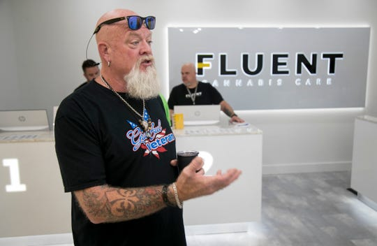 Jeffrey DeMond of the Grateful Veterans organization talks about the benefits of cannabis to veterans on Wednesday, July 24, 2019, at Fluent Cannabis Care in south Fort Myers.