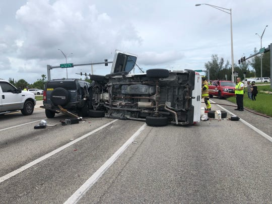The Cape Coral Police and Fire departments and Lee County EMS are on scene of a rollover crash at the intersection of SW Pine Island Road and Burnt Store Road after a 1:30 p.m. crash Friday, July 26, 2019.