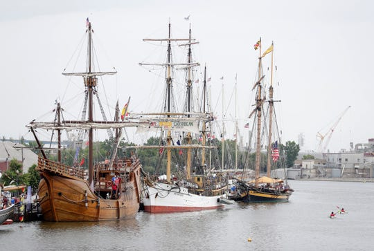 The Nicolet Bank Tall Ships festival bot underway July 26, 2019 at Leicht Memorial Park in Green Bay, Wis. The three-day event concludes Sunday.