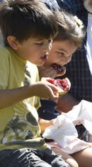 Mattias Velazquez of Arlington, Ill., and his cousin Lucianna Barraza, dig into cherry kolaches during the 2017 Cherry Fest at Lakeside Park in Jacksonport.