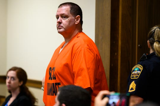 Serial killer Todd Kohlhepp enters the courtroom for two damages hearings against him at the Spartanburg County Courthouse Friday, July 26, 2019.