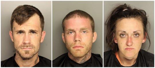 From left: Matthew James Arneson, 28, of Duncan; James Robert Hutson, 29, of Greenville; Kirsten Meece, 29, of Anderson.