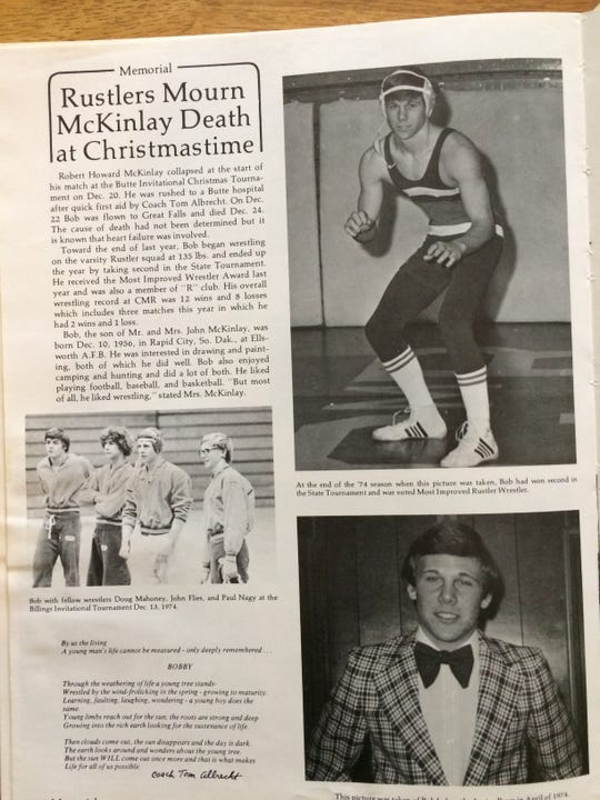 The 1975 CMR yearbook told the sad tale of Bobby McKinlay.