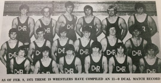 The 1974-75 CMR wrestling team featured, front row from left, Herb Chesterfield, Kelly Johnson, Boyd Putnam, Tim Croft and George King. Center row, from left, are Art Johnson, Paul Nagy, Roger Olson, Butcher Heppner, Mark Anderson and Jon Flies. Back row, from left, are Mike Burtosky, Gregg Lynde, Ron Muzzano, Brent Barefield, Joe Shupe and Ron Ameline.