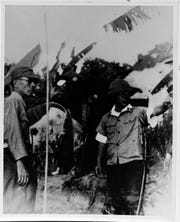 Imperial Japanese Army Lt. Gen. Takeshi Takashina, left, and Col. T. Suenaga inspect defenses along the Agat beaches in the spring of 1944.