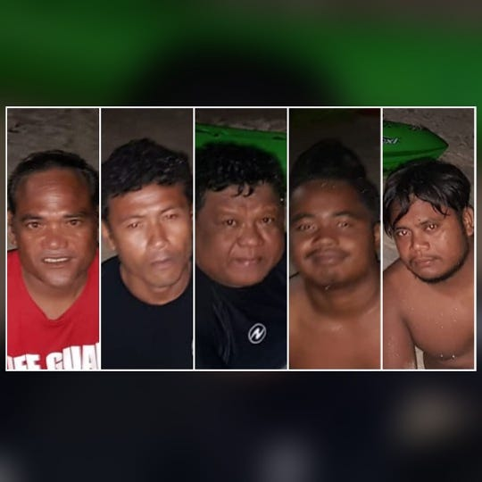 Five men were arrested on suspicion of illegal fishing in Tumon on July 23, 2019, Department of Agriculture officers said.
