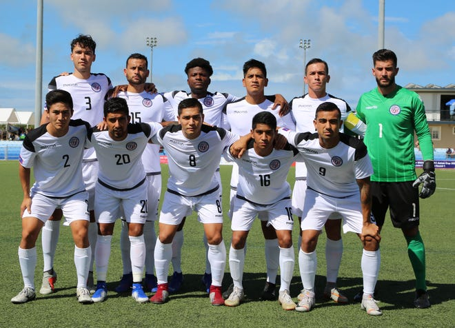 Guam's starting 11 players against Bhutan before the Round 1 match of FIFA World Cup Qatar 2022 and AFC Asian Cup 2023 Preliminary Joint Qualification at the Guam Football Association National Training Center in this file photo.